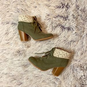 Army Green Lace-Up Booties with Floral Lace Detail